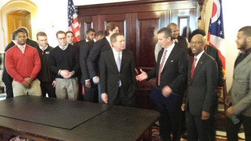 John Kasich, Urban Meyer, Dr. Drake, and OSU's football team