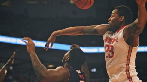 Amir Williams blocks a shot.