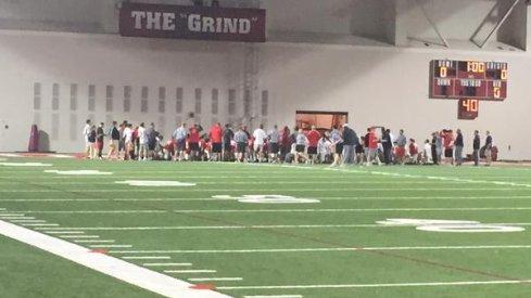 Ohio State huddles.