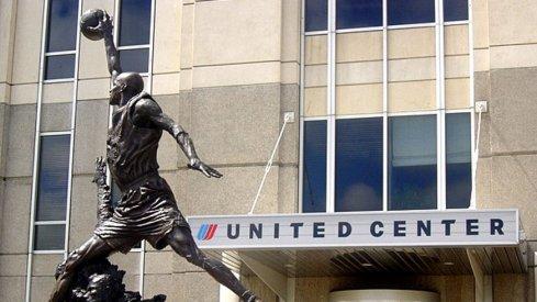 The Michael Jordan statue outside of Chicago's United Center.