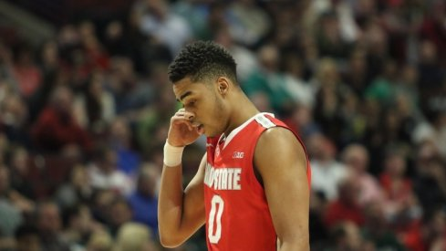 D'Angelo Russell walks off the floor after a Michigan State loss.