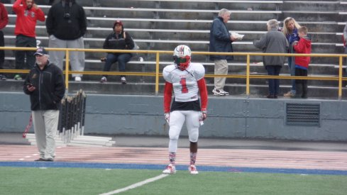 Eric Glover-Williams warms up for the North-South Classic