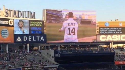 Urban Meyer throws out the first pitch at Yankee Stadium