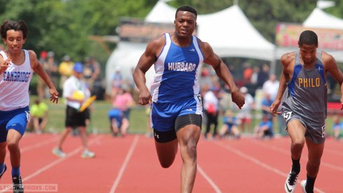 George Hill runs at the state track meet.