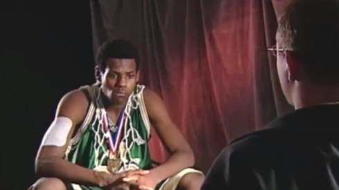 LeBron James during his days at Akron St. Vincent-St. Mary.
