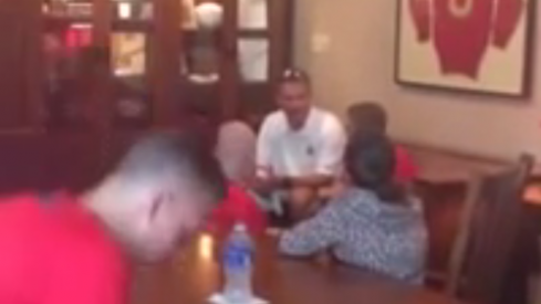 Urban Meyer meets with Ryan Hardy and Grant Reed