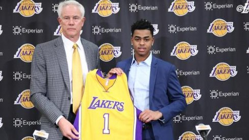 D'Angelo Russell with Lakers GM Mitch Kupchak