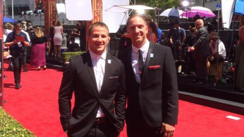 Four-time NCAA champion Logan Stieber hits the red carpet at the ESPYs alongside coach J Jaggers.