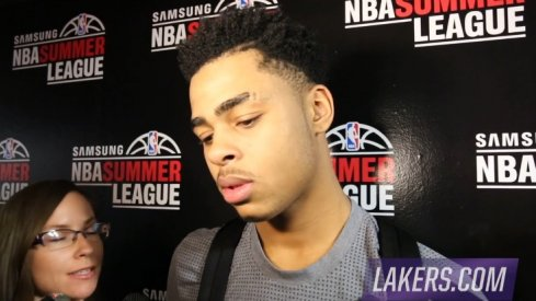 D'Angelo Russell speaks with the media in Las Vegas