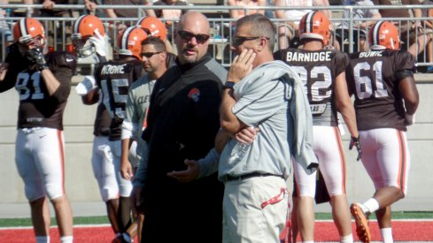 Mike Pettine, Urban Meyer at Ohio Stadium.
