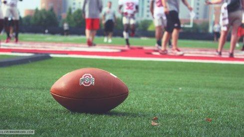 Ohio State freshmen football players first practice Monday.