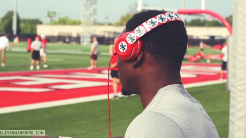Johnnie Dixon watching the Buckeyes practice.
