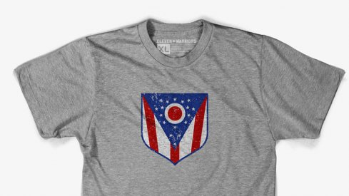 The Ohio Crest tee honors the greatest state flag in the land, the Ohio Burgee.