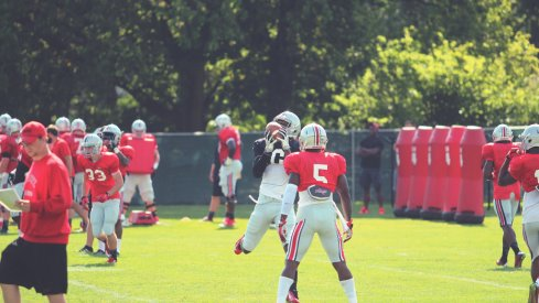 Torrance Gibson practicing with the wide receivers gives Ohio State another offensive weapon.