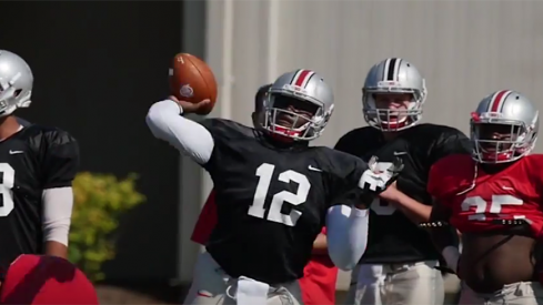 Cardale Jones lets it fly during Thursday's practice.