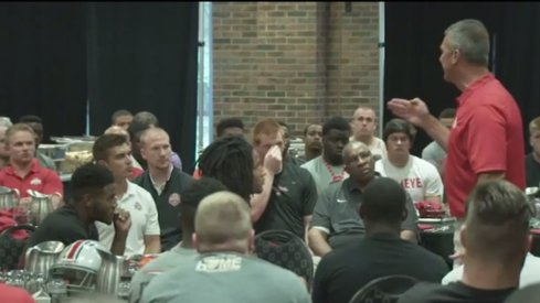 A preview of Scarlet and Gray Days on BTN shows Urban Meyer speaking firmly to his team.