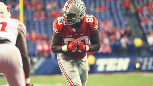 Ohio State wide receiver Noah Brown suffered a major leg injury Wednesday night.