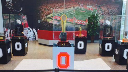 The new entryway into the Woody Hayes Athletic Center has a shiny new trophy.