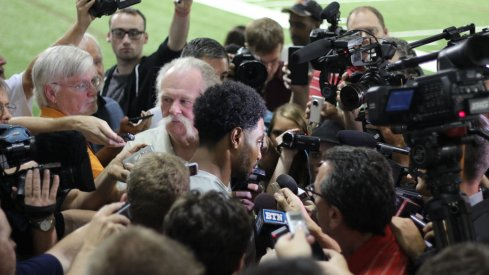 Braxton Miller meets with the media.