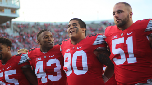 Watch Ohio State sing Carmen Ohio and talk about its 38-0 win over Hawai'i.