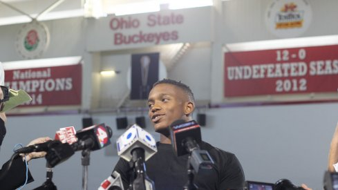 Darron Lee meets with the media Monday.