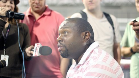 Tony Alford meets with the media
