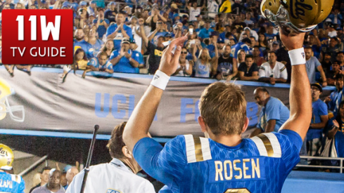 UCLA Bruins quarterback Josh Rosen (3) waves to the crowd after the UCLA Bruins and BYU Cougars football game at the Rose Bowl in Pasadena, CA. UCLA beat BYU 24-23.