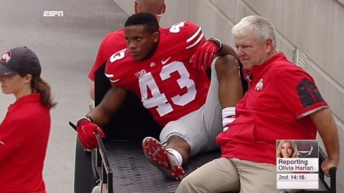 Darron Lee carted off vs. Western Michigan.