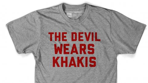 The Devil Wears Khakis track tee, now available at Eleven Warriors Dry Goods