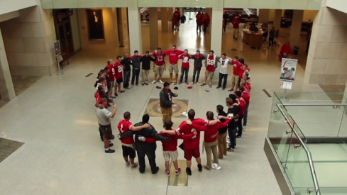 OSU Men's Glee Club sings Carmen Ohio in the Thompson Library.