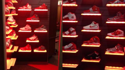 Ohio State's display of all the LeBron James shoes the basketball team's worn since 2007.