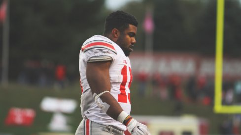 Ezekiel Elliott on the field against Indiana.