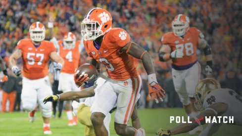 OCTOBER 3, 2015: Clemson wide receiver Artavius Scott (3) breaks a tackle on his way to a touchdown during 1st half action between the Clemson Tigers and the Notre Dame Fighting Irish at Memorial Stadium in Clemson, SC. (Photograph by Doug Buffington/ Icon Sportswire).