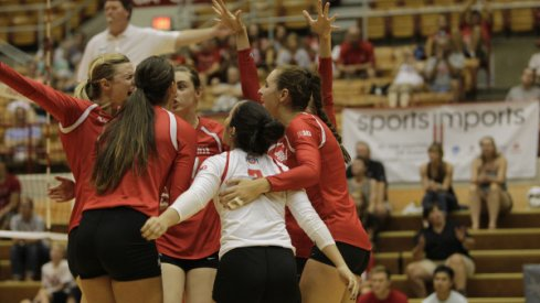 Ohio State's women's volleyball team celebrates a win.