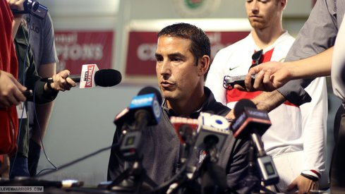 Luke Fickell meets with the media.