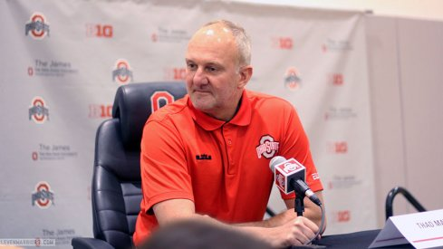 Thad Matta speaks to the media.