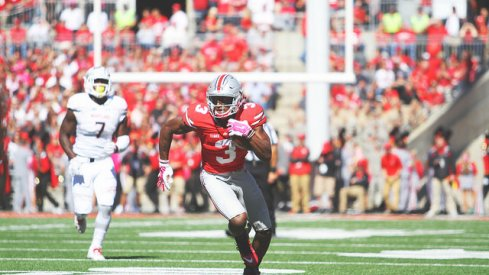Mike Thomas posted his first 100-yard game of his Ohio State career on Saturday vs. Maryland.