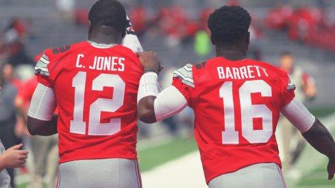Cardale Jones, J.T. Barrett Warm Up