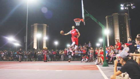 Trevor Thompson soars on the courts by Morrill and Lincoln Towers