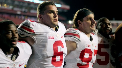 Curtis Samuel, Sam Hubbard, Joey Bosa, and Tyquan Lewis sing Carmen Ohio after beating Rutgers.