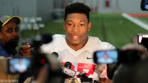 Joshua Perry meets with the media.