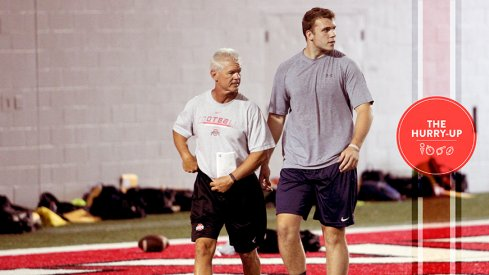 Jake Hausmann and Ohio State assistant coach Kerry Coombs.