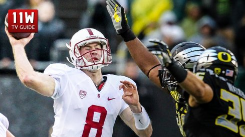 Nov. 1, 2014 : Stanford Cardinal quarterback Kevin Hogan (8) throws under pressure from the Oregon Ducks defense during the game between the Stanford Cardinal and the Oregon Ducks at Autzen Stadium in Eugene, Oregon.