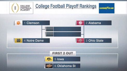 Ohio State is No. 3 in the College Football Playoff rankings for the third straight week.