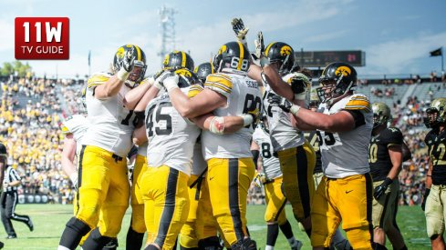 September 27, 2014: Iowa Hawkeyes offense celebrates a touchdown during a football game between the Purdue Boilermakers and Iowa Hawkeyes at Ross-Ade Stadium in West Lafayette, IN.