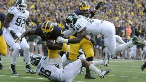 The DL may get the headlines, but Spartan LB Darien Harris (#45) may be the key to the whole unit
