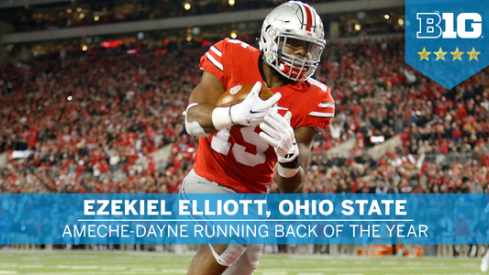 Ezekiel Elliott was named the Big Ten's Running Back and Offensive Player of the Year Tuesday.