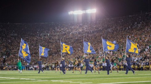 September 5, 2015: Notre Dame flags on the field after a touchdown during a game between the University of Texas Longhorns and the Notre Dame Fighting Irish at Notre Dame Stadium in South Bend, IN.