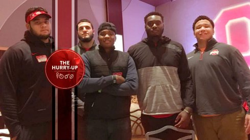 Dwayne Haskins, Jr. with four Ohio State freshmen lineman.