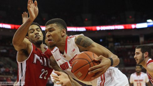 Marc Loving drives inside against Northern Illinois.
